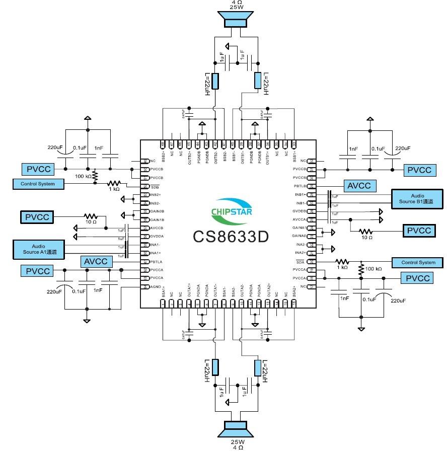 电子元器件 集成电路/ic 智浦欣功放ic cs8633d 免滤波 4×15w四通道