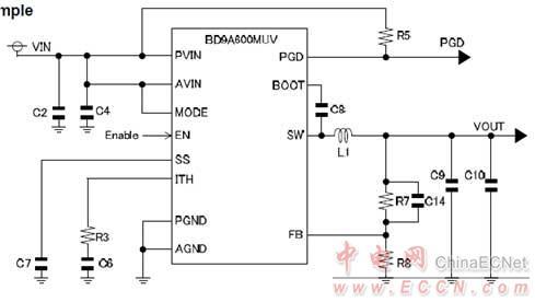图2.bd9a600muv典型应用电路图
