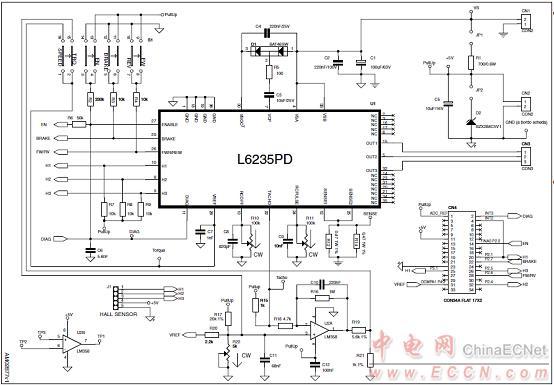 图4.马达驱动板eval6235pd电路图