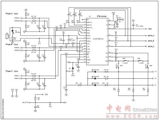 图9.马达控制电源板steval-ipm15b电路图(4)