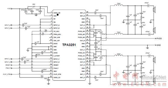 图3.tpa3251差分输入btl应用电路图