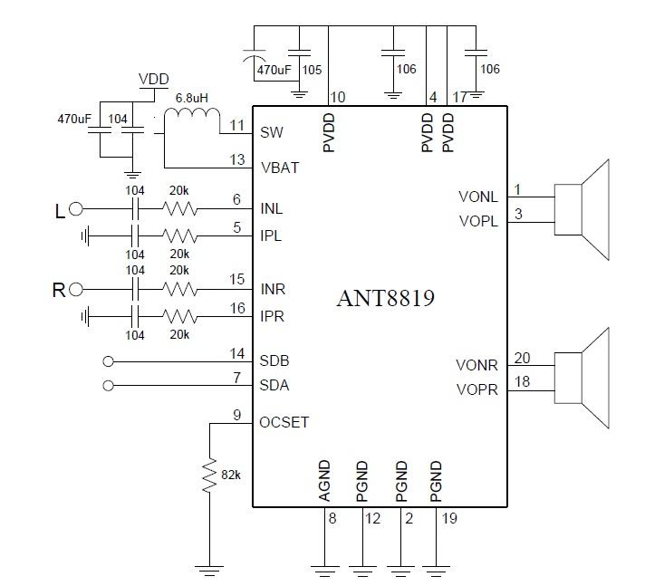 ant8819(内置升压3.2w双声道g类音频功放ic,立体声k歌