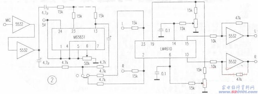 2 LM4610包括LM1036(见图2)的音量控制范围为75dB。使用中发现,当音量电位器开到超过2点钟时针位置时,电路的本底噪声很大,关小时噪声减小,但音量又不足。为了克服这一矛盾,笔者在后面加上一级由5532组成的5倍放大器。此时,当音量电位器开到一半时,已是满功率输出,且本底噪声极小。同时,为防止音量开得过大损坏功放级,故在音量电位器上串接一个15k~20k左右的电阻,以降低音量提升增益。加接5倍放大器后,高低音调易出现自激,特别是使用卡拉OK时最易出现高频自激。因此,也在高低音调电位器上串接1
