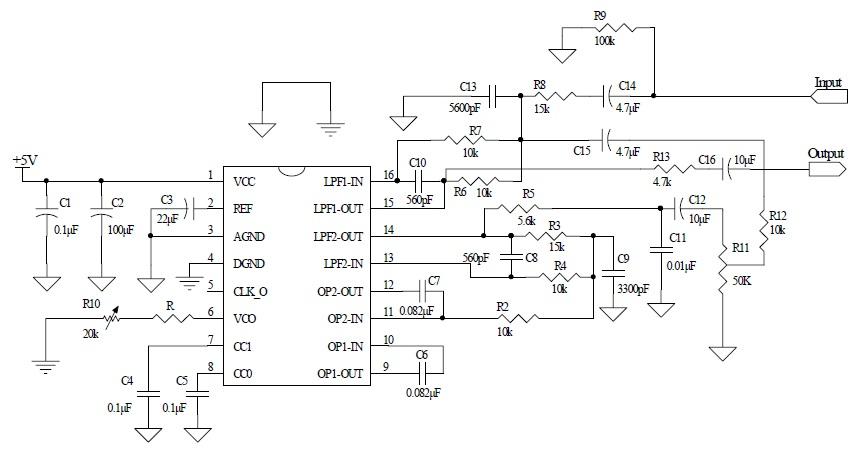 cd2399 混音电路典型应用线路图
