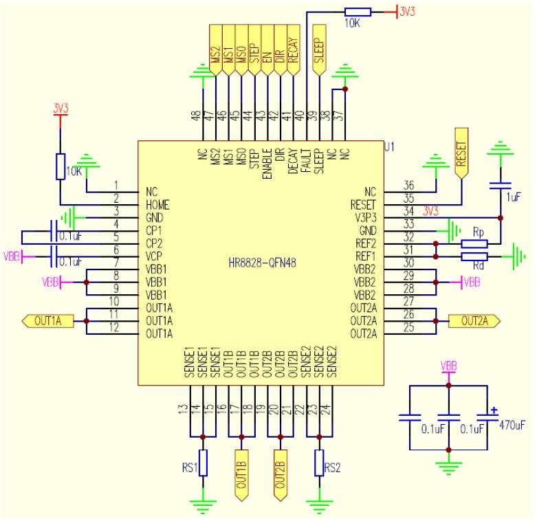 描述 HR8828 是一种内置步进表的集成微步进电机驱动器,为打印机、扫描仪和其它自动化设备提供解决方案。其设计为能使双极步进电机以全、半、1/4、1/8、1/16、1/32步进模式工作。步进模式由逻辑输入MODEx选择。输出驱动能力达到38V和3.5A。HR8828的衰减模式可编程。译码器是HR8828易于实施的关键。通过STEP简单的输入一个脉冲就可以使电机完成一次步进,省去了相序表,高频控制线及复杂的编程接口。这使其更适于在没有复杂的微处理器或微处理器负担过重的场合。内部的同步整流控制电路改善了PW