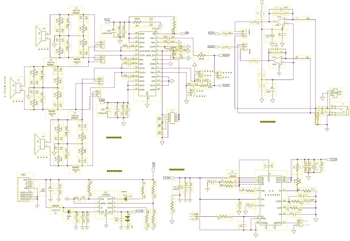 两节锂电池7.4v供电实现2x20w音频放大/升压/usb充电组合解决方案