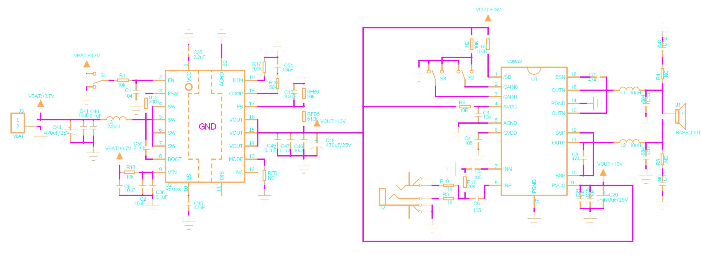 深圳市永阜康科技有限公司推出基于HT7178+CS8623的单节锂电池3.7V升压至12V、20W单声道D类音频放大组合解决方案,无需外围MOS管、二级管及散热器,同步升压效率最高达85%,D类音频功率放大器CS8623采用ESOP-16的封装,外围简单应用方便,极具性价比。 方案简介 此方案大致分为两个主要级: 1,采用HT7178同步升压转换器。此设计3.