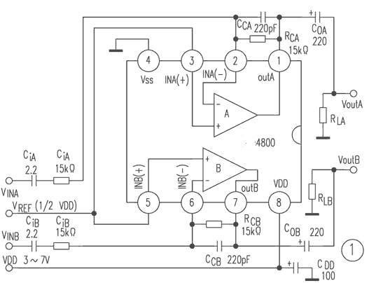 用LM4800驱动的立体声290mW、8音频放大器电路上图所示。 LM4800内置放大器A和B,其同相端(INA+,INB+)连接在一起,并施加1/2VDD的参考电压(VRFE)。电源电压范围为3~7V,空载电源电流为205mA(VDD=5V时)。两路输入VINA、VINB经CiA、RiA和CiB、RiB分别施加到放大器A和B的反相输入端INA-和INB-,脚和脚上的两个输出信号分别经耦合电容COA和COB施加到负载RLA和RLB。连接IC脚与脚及脚与脚的CCA、RCA、和CCB、RCB分别