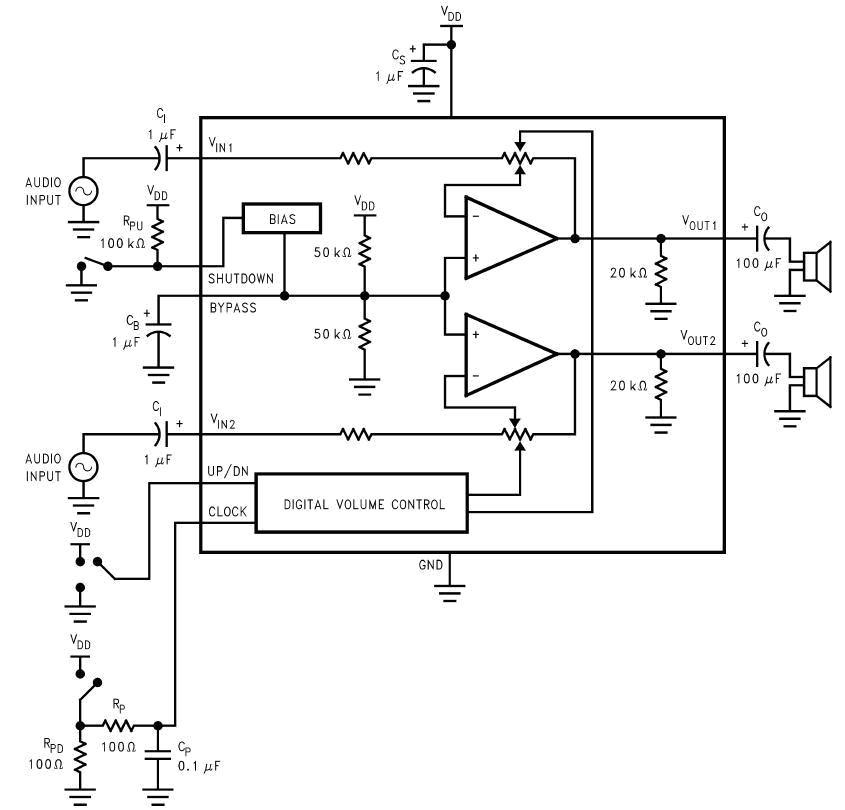 控制功能立体声耳机音频功放ic的应用电路原理图说明