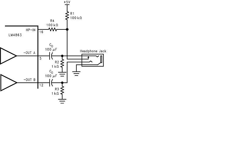 lm4863耳机模式应用电路原理图说明