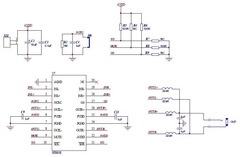 pbtl(双声道并联单声道)输出应用电路图