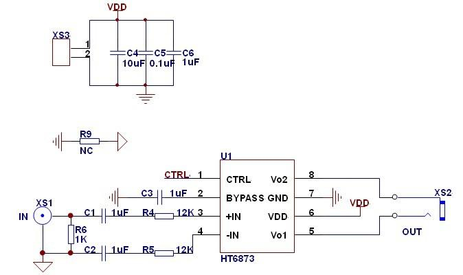 LM4871是现在小音箱产品上应用最广泛的一颗音频放大IC,大部分工程师对其应用原理和性能特点了如指掌,但因为LM4871是AB类,效率相对比较低,功率已经不能满足市场对大功率的要求。先推荐3.4W单声道D类音频功放IC-HT6873 的替换LM4871的应用原理。 HT6873 性能介绍 HT6873是一款低EMI的,防削顶失真的,单声道免滤波D类音频功率放大器。在5V电源,10% THD+N,4Ω负载条件下,输出3.