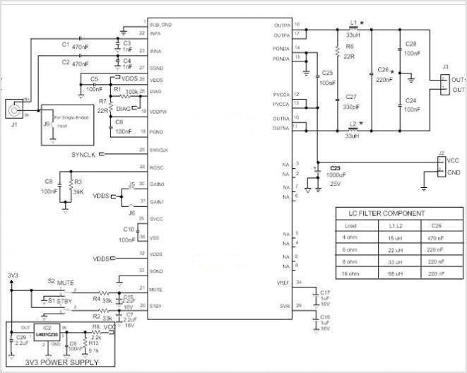 tda7491系列class-d/d类功放ic电路特点及应用原理图