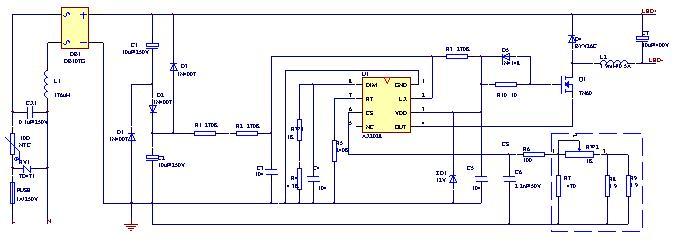 led吸顶灯/路灯照明驱动方案电路原理图详细解说