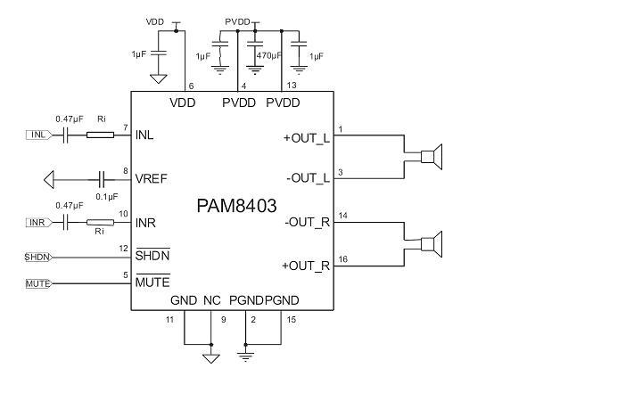 产品概述 CS8403是一款3W,立体声D类音频功率放大器,能够以D类放大器的效率提供AB类功率放大器的性能。采用D类结构,AX8403能够以高于85%的效率提供3W功率。新型的无滤波器结构可以省去传统的D类放大器输出低通滤波器,从而节省了系统成本和PCB空间,是便携式应用的理想选择。兼容PAM8403。 采用DIP-16和SOP-16封装。 典型应用原理图