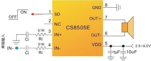 引脚排列及定义 单端输入