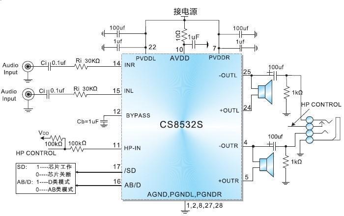 8v供电带耳机模式9w双声道ab类
