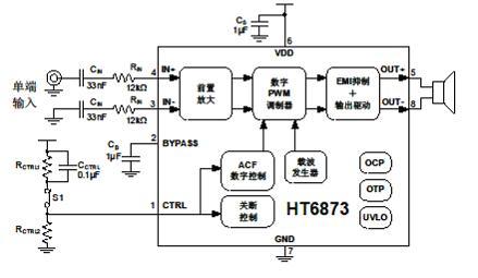 4w单声道d类音频功放ic性能特点及应用电路>
