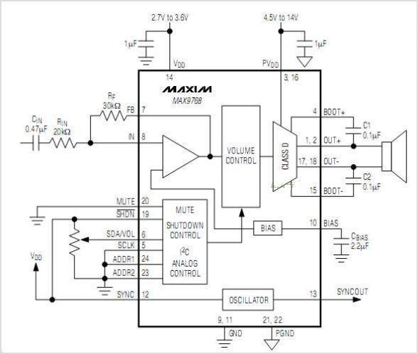 音量控制单声道10w d类扬声器放大器ic电路特点及