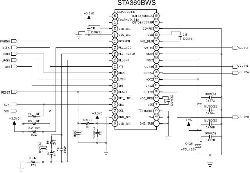 sta369bw/sta369(2x9w 20w或20w双声道数字i2s音频信号输入功放ic)