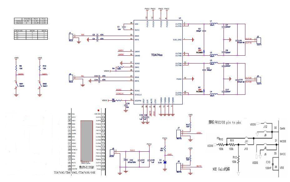 50w-160w双声道大功率d类音频功放ic应用电路原理图